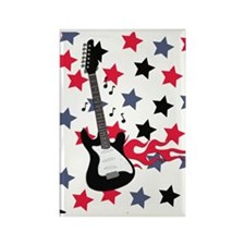 Red White and Blue Guitar Rocker Rectangle Magnet