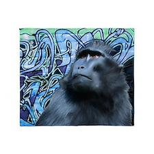 Mousepad-Black-Macaque-TriPodDogDesi Throw Blanket
