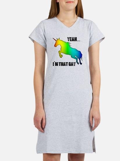 yeah im that gay on white Women's Nightshirt