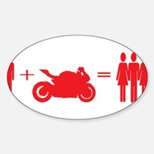 guy plus bike equals girls Decal