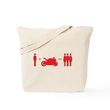 guy plus bike equals girls Tote Bag