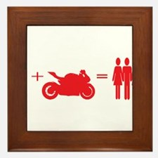 guy plus bike equals girls Framed Tile