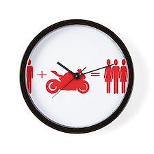 guy plus bike equals girls Wall Clock