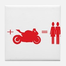 guy plus bike equals girls Tile Coaster