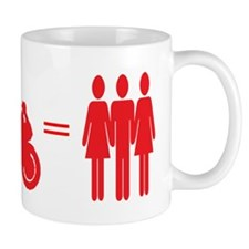 guy plus bike equals girls Mugs