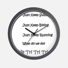Just_Keep_Triing_wht Wall Clock