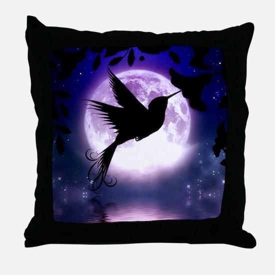 Moonlit Hummingbird Throw Pillow