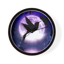 Moonlit Hummingbird Wall Clock
