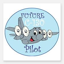 "Mil 3 C130 baby pilot M  Square Car Magnet 3"" x 3"""