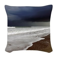 Storm rolling in Woven Throw Pillow