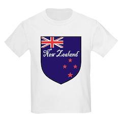 New Zealand Flag Crest Shield Kids T-Shirt