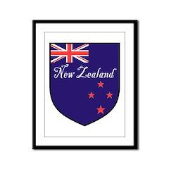New Zealand Flag Crest Shield Framed Panel Print