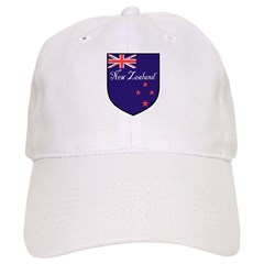 New Zealand Flag Crest Shield Baseball Cap