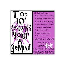 "Gemini6 Square Sticker 3"" x 3"""