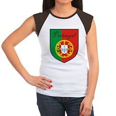 Portugal Flag Crest Shield Women's Cap Sleeve T-Sh