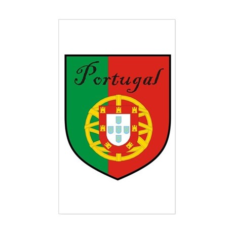 Portugal Flag Crest Shield Rectangle Sticker