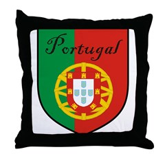 Portugal Flag Crest Shield Throw Pillow