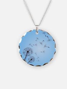 Dandelion on Baby Blue Oval  Necklace