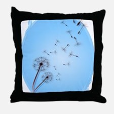 Dandelion on Baby Blue Oval Trans Throw Pillow