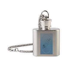 OvalJewelDandelion on Baby Blue Flask Necklace