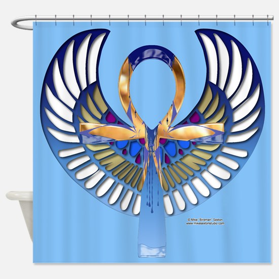 Ankh Scarab Shower Curtain
