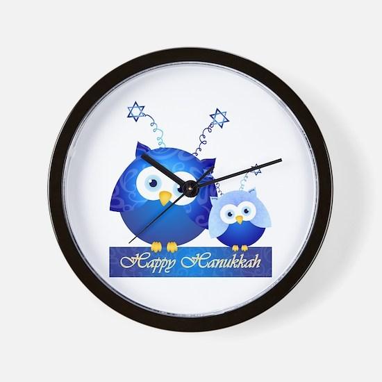 Happy Hanukkah Owls Wall Clock