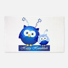 Happy Hanukkah Owls 3'X5' Area Rug