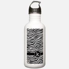 441_zebra_monogram_K Water Bottle