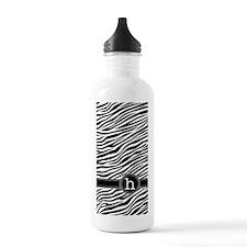 441_zebra_monogram_h Water Bottle