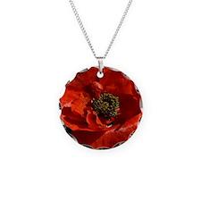 Vibrant Red Poppy Necklace