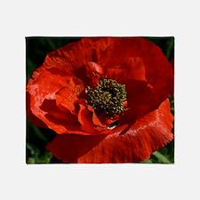 Vibrant Red Poppy Throw Blanket