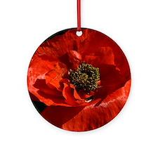 Vibrant Red Poppy Round Ornament