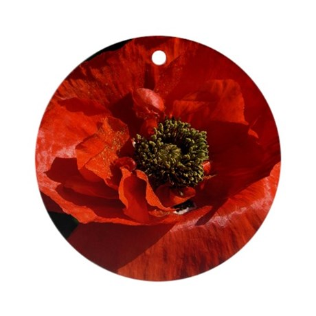 Vibrant Red Poppy Round Ornament