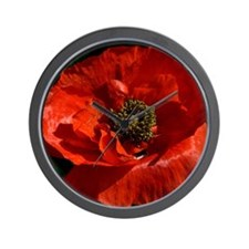 Vibrant Red Poppy Wall Clock