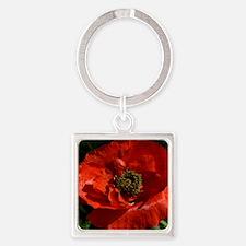 Vibrant Red Poppy Square Keychain
