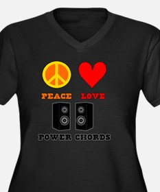 Peace Love P Women's Plus Size Dark V-Neck T-Shirt