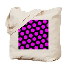 Magenta Polka Dots on Black Tote Bag