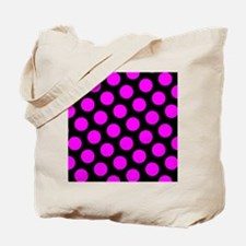 Magenta Polka Dots on Black Tote Bag