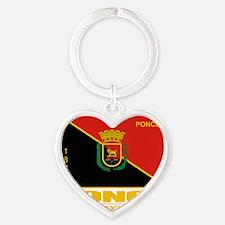 Ponce Flag Heart Keychain