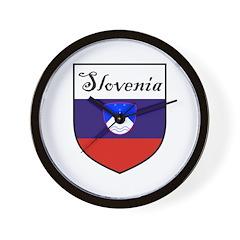 Slovenia Flag Crest Shield Wall Clock