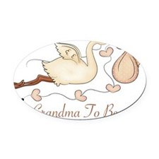 grandma to be stork pink@@@_2-001 Oval Car Magnet