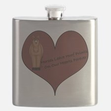 horse hoof prints brown-001 Flask