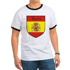 Spain Flag Crest Shield Ringer T