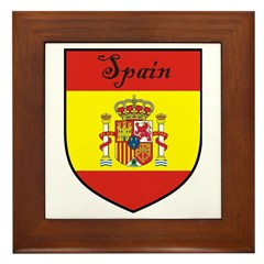 Spain Flag Crest Shield Framed Tile