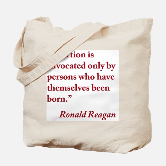 reagan-abortion-quote-square Tote Bag