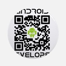 android-qr-3inch-300dpi Round Ornament