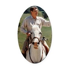 Reagan_on_horseback Oval Car Magnet