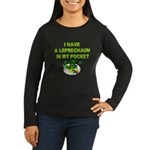 Pocket Leprechaun Women's Long Sleeve Dark T-Shirt