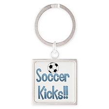 soccer kicks blue words-001 Square Keychain