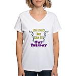 Fat Tuesday Women's V-Neck T-Shirt